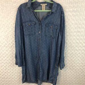 Philosophy Polka Dot Chambray Shirt Dress size XL